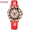 OLEVS Brand Luxury Women Watches Gold hollow out Красивый дизайн Кварцевые женские часы Red Leather Clock Wristwatch Luminous fashion leather watches for women analog watches elegant casual major wristwatch clock small dial mini hot sale wholesale