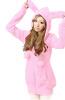 Женщины Повседневная Милый Зайчик Уши Теплой Шерпа Утолщаются С Капюшоном Пальто Куртки Пальто пружина 2016 корея корейский профиль утолщаются и пальто в вату твид куртки женщин