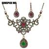 SUNSPICE MS. Vintage Турецкие женщины цветок ожерелье мотаться серьги смолы ювелирные изделия устанавливает античный золото индийс