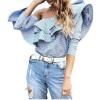 Off Плечи Женщины Блузка Повседневная длинная рукава Оборки Топы Блузка Синяя Белая Полоса Блузка mayle блузка