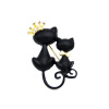 Cute Women Cat Brooch Pins Black Double Lover Cat Broocches Broches Crown Tie Cat Animal Jewelry Pin Дамы отворотные штыри для шты fashion enamel garment jewelry brooch pin decoration cute sunflower vestidos broach for women girl gift