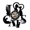 Любовные кошки 3D Виниловые настенные часы Black Record Home Bedroom Wall Art Decoration любовные кошки 3d виниловые настенные часы black record home bedroom wall art decoration