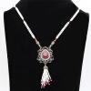 Изысканные смолы длинные бусины ожерелье женщин винтаж бисера ювелирные изделия античный золото цвет цветок подвеска турецкий буси