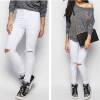 Summer Women Stretch Slim Pencil Pants Full Length Sexy Ripped Hole Skinny High Waist Trousers Plus Size Pantalon Femme new women s vintage ripped high waist jeans pencil stretch denim pants female slim skinny trousers autumn winterjeans