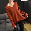 Новые товары, весенний свитер, свитер из чистого цвета, рыхлый воротник V, рукава трусиков с длинными рукавами, воротник V, свитер внизу