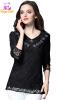 L - 5XL плюс размер кружева элегантный осень 2017 черный белый блузка женщин одинокий рукав большой размер вершины бисером блузка diesel цвет черный белый 00svv6 0canq 900 размер l 46