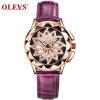 OLEVS Brand Luxury Women Watches Gold hollow out Красивый дизайн Кварцевые женские часы Red Leather Clock Wristwatch Luminous