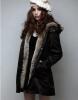 Женщины теплый длинное пальто капюшоном пальто из искусственного меха с капюшоном зима сгущает стеганые Parka пальто с капюшоном