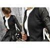 малого @ новых женщин o-neck пиджак с кожаными сшивания молнии блейзер пальто блейзеры mohito блейзер
