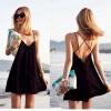 Летняя приморская курортная юбка женская пляжная юбка сексуальная глубокая V спина крест платье маленькая черная юбка ремень юбка юбка