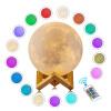 3D LED 16 цветов Лунный свет Настольные лампы USB Перезаряжаемый ночник с дистанционным управлением ночник лунный свет