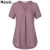 Timeson 2018 Летние женские блузки V-образным вырезом с коротким рукавом шифон блузки с короткими рукавами с длинными рукавами