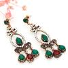 Новые турецкие женщины Vintage Long Dangle Earrings WaterDrop Resin Hollow Round Rhinestone Retro Love Earring Этнические свадебны