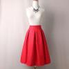 BACHASH 2018 Summer Women Skirt Vintage Peach Blossom Floral Print High Waist Ball Gown Pleated Midi Skater Skirts Saias