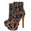 мода высокие каблуки длинные сапоги для женской свадьбы свадьбы Печать печатных цветов сапоги плюс размер