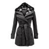 CT&HF Женщины двубортное пальто хлопок длинный зимняя верхняя одежда Женская толстовка с капюшоном верхняя одежда