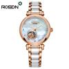 Женские часы ROSDN Top Brand Роскошные автоматические механические часы Lady Casual Модная керамика Ремешок скелет Наручные часы