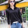 2018 весна и осень новый сплошной цвет грунтовки рубашка лацкане поло хлопок футболка с длинными рукавами женщин