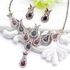 Изысканный Турция Люкс цветы ювелирные изделия устанавливает смолы серьги тюльпаны цветок ожерелье Rhinestone женщин свадьбы этнич lori цветы из пайеток тюльпаны