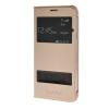 MOONCASE тонкий кожаный флип сторона Кронштейн Окно чехол для Samsung Galaxy J7 Золото