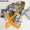Guttavalli Женщины Подсолнухи Хлопчатобумажные кисточки Длинный шаль Женский тощий цветочный парик Chevron Sunscreen Yellow Ends Dots Plant Scarves
