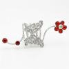 Мода женщин Кристалл бабочка Весна кольцо Имитация-Жемчужина Люкс ювелирные палец кольцо Rhinestone цветок Анель свадебное кольцо 4шт set мода кольца двустворчатые оставляет кристалл палец кольцо комплект