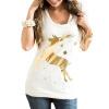CT&HF Женщины Прекрасная Фавн Печатные Футболки Женщины Мода Досуг Rround воротник футболки горячий продавая женщин СИЛМА личности Топы