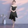 Вечернее платье нового зимнего короткого парадного банкетного платья женское короткое плечо с длинным рукавом после ежегодного праздничного платья