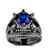 Новое роскошное синее циркониевое кольцо из черного золота с цирконием устанавливает уникальные обручальные кольца для вечеринок для женщин R703