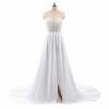 Пляжные Свадебные платья 2018 трапециевидной формы с боковыми элегантный Кружево Аппликации шифон Свадебные платья платье свадебные платья
