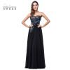 Платье вечернее из черной атласной линии с вышивкой из шифона свадебное платье с атласной вышивкой