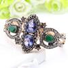 Урожай турецких женщин цветок браслет браслет античный золотой цвет смолы манжета симметричный кристалл Индии невесты Armillary Je