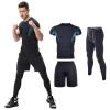 2018 с короткими рукавами тренировка одежда мужской костюм трехсекционный тренировочный костюм летний эластичный плотный спортивный костюм