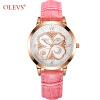 OLEVS Креативный дизайн Женские часы Кожаные стильные женские кварцевые часы Розовое золото Повседневная мода наручные часы 2018 Подарок Новый женские часы tokyobay t525bk