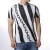 Мужские диагональные полоски цепи O-образным вырезом Пуловер футболки