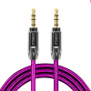 Zinc Alloy Polished Metal Connectors Male To Male Aux Audio Cable 3.5mm Auxiliary Nylon Braided Cord - Rose Pink reliable 3 5mm stereo auxiliary cable male to male flat audio music aux cord interface 2x3 5mm male jack plug