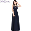 Sexy Sheer Back Women Maxi Lace Dress 2018 A Line Chiffon Black Red Elegant Long Dress Party lace insert mini a line party dress