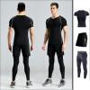 2018 новая одежда для фитнеса три костюма спортивная с короткими рукавами быстросохнущая футболка тренажерный зал тренировка бег быстрая сухая одежда мужчины