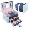 Ларри Lawei европейский стиль розовый крокодиловой кожи ювелирных изделий коробка ювелирных изделий штрафа ящик для хранения ленты зеркало