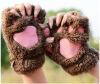 Дамские зимние перчатки без пальцев, пушистая медвежья кошка Плюшевая лапка лапка Половина перчатка, половина обложки Женские перчатки Mitten перчатки без пальцев шерстяные с рисунком розовые