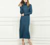 Lovaru ™2015 новых зимой высокий воротник Тонкий сплошной цвет шерсти юбка модели женских вязать платье Европа продлен женское платье цена и фото