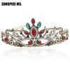 Vintage Women Red Resin Bridal Crystal Tiara Crown Head Jewelry Princess Queen Турецкие свадебные аксессуары для волос other 100% ms 100g queen 01010