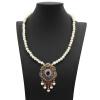 Vintage Flower Strand Bead Pendant Necklace Set Women Antique Simulated-Pearl Chain Турецкая свадебная индийская свадебная смола