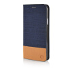 MOONCASE Canvas Design Leather Side Flip Wallet Pouch Stand Shell Back ЧЕХОЛ ДЛЯ Samsung Galaxy E5 Dark Blue wallet leather pouch for iphone 6s 6 samsung e5 htc m8 size 144 x 75mm blue bowknot
