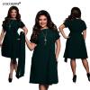 【Плюс Размер платья о-образным вырезом WLYWEND】элегантное повседневное женское платье большого размера Шифоновое платье