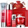 Olay Olay Fresh Essence Firming Gift Set 6шт (красная бутылочная крем 50 г + жидкая вода 150 мл + очищающее средство 120 г + крем для глаз 15 мл + маска 2шт) ahava time to hydrate нежный крем для глаз 15 мл