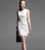 Lovaru ™ Осень новый раунд шеи ПУ промывают кожа моды белое платье без рукавов сплошной цвет юбки женщин вскользь платье