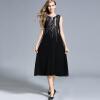Женская шерстяная одежда зимняя вышивка шерстяные платья мода Вышивка Твердый цвет (серый, черный) длинное платье из шерсти дамы жилет платье женская одежда из шерсти women coat 2015