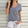 Женская футболка плюс Размер, Футболка с V-образным Воротником и Короткими Рукавами