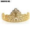 Новый Прибытие Золотой цветок Свадебные короны Rhinestone Tiaras Женщины Свадебные аксессуары для волос Аксессуары красоты Queen S аксессуары для детей